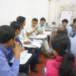 Picture 2. In groups, participants identify the research problems and discuss the possible methodology to solve them.