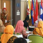 Dr Sri Sumarni as resource person from Universitas Negeri Jakarta presents the training materials concerning instruments development for assessment